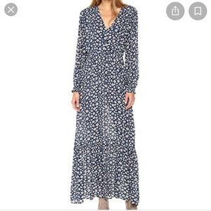ECI | Blue Floral Print Long Sleeve Maxi Dress